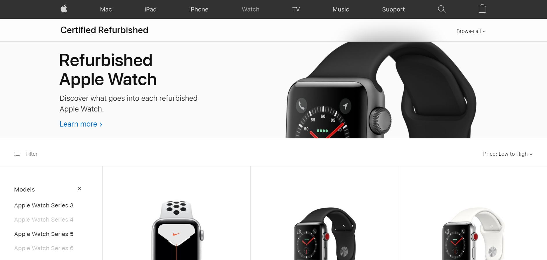Screenshot of refurbished Apple watch series 3 and refurbished Apple watch series 5 product page of Apple Store online