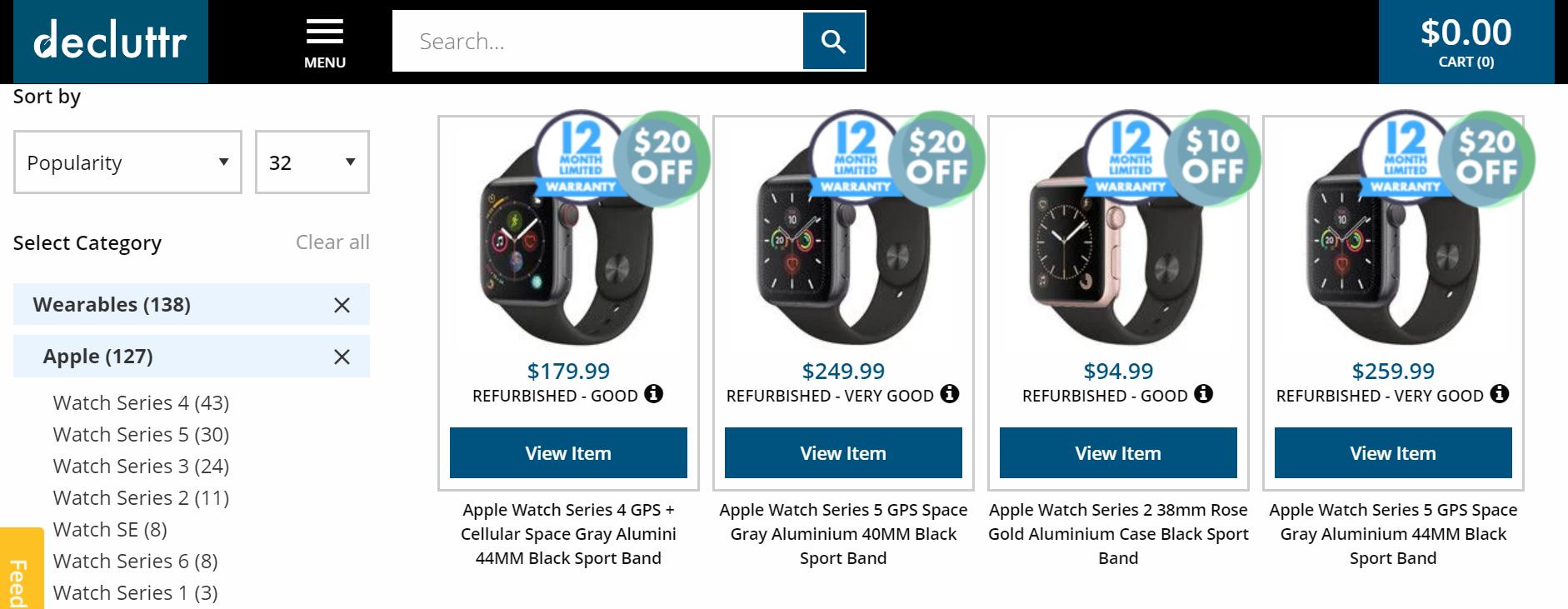 Screenshot of refurbished Apple watch series 2, 3, 4 and refurbished Apple watch series 5 product page of Declutter