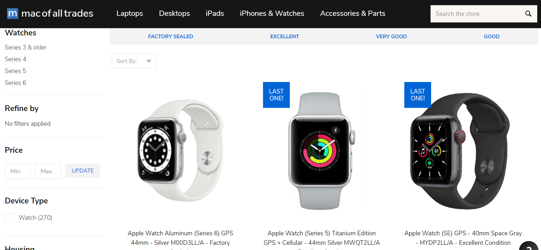 Screenshot of Mac of all trades apple watche series 3, 4, 5 and refurbished apple watch series 6