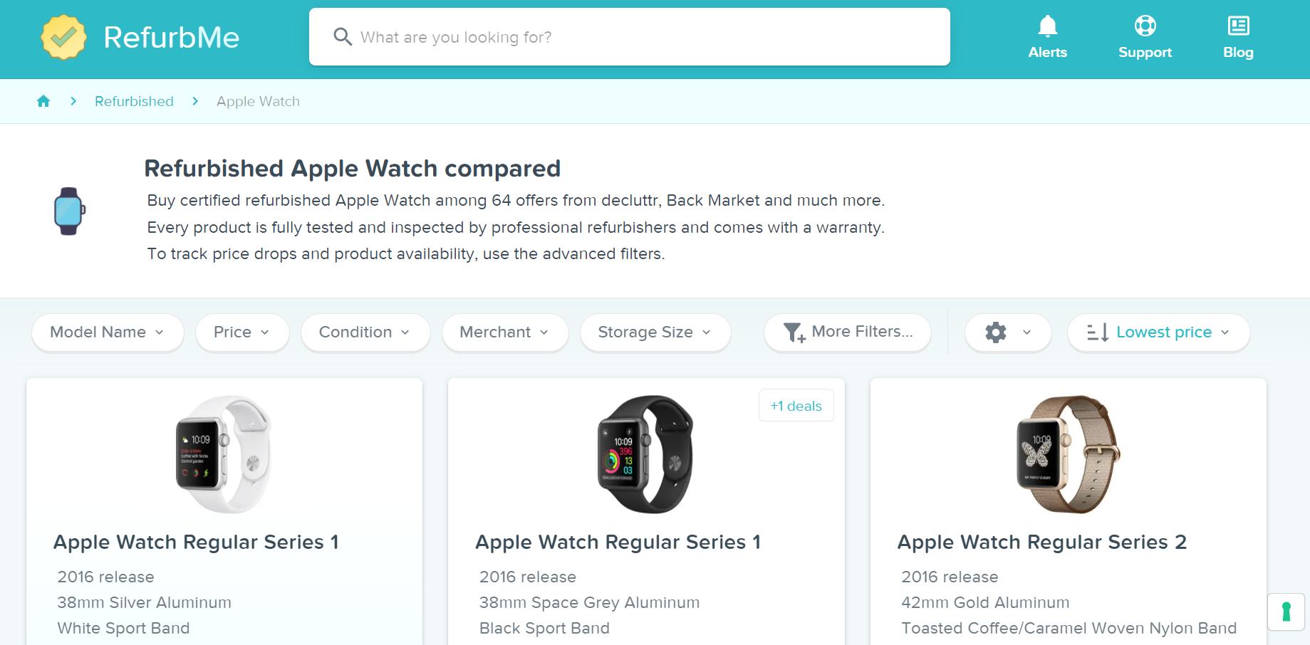 Screenshot of RefurbMe apple watches