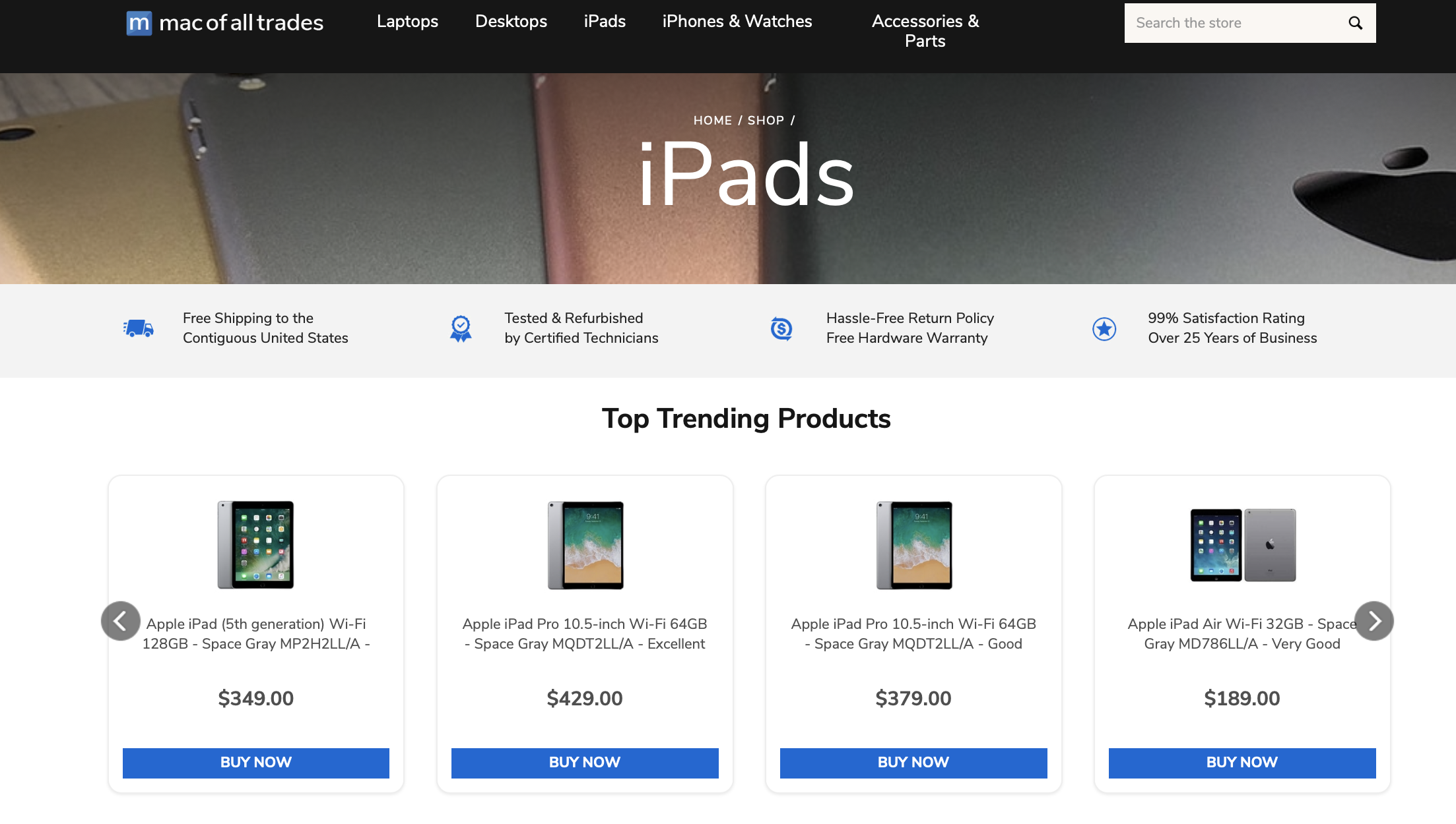 Mac of All trades refurbished iPad section