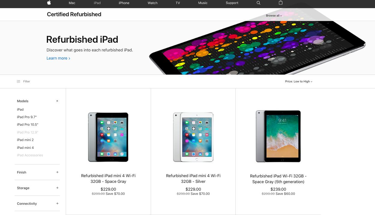 Apple store refurbished iPad section